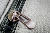 Close up iron zip on fabric — ストック写真