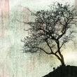Beautiful tree silhouette and grunge background — Stock Photo
