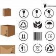 Card board package and set of packing symbols — Stock Vector