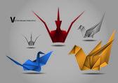 Origami crane bird papertoy — Wektor stockowy