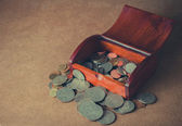 Vintage wooden box with coins,still life — Stok fotoğraf