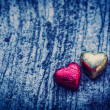 Stock Photo: Double Chocolate Heart Shape On Grunge background with blue ligh