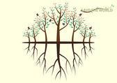 Красочные дерево и тени сохранить концепции мира — Cтоковый вектор