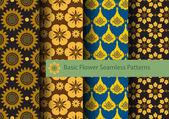 Basic Flowers Seamless Patterns — Stock Vector