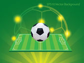 Soccer and field with green and yellow background — Stockvektor