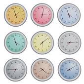 Set of Clock Vector Illustration Isolate — Stock Vector