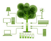 Energy From Tree Green Electronics icon — Vetorial Stock