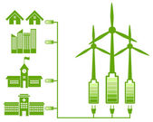 Green Energy From Wind Mill And Green Icon — Stock vektor