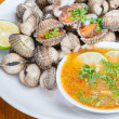 Blood Cockle with seafood sauce Thailand — Stock Photo