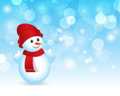 Holiday Christmas Snowman background with space for text vector illustration — Stok Vektör