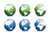 Green and Blue Globe with different view vector illustration — Stok Vektör