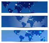 Globales netzwerk banner design vektor-illustration mit textfreiraum — Stockvektor