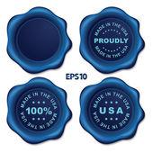 Stylish blue vector wax seal — Stock Vector