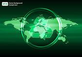 Glowing Green World Map vector illustration — Stock Vector
