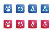 Ícones de leitura vermelho e azul — Vetor de Stock