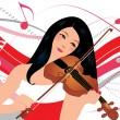 Young Woman Playing Violin — Stock Vector