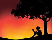 Jovem lendo em ilustração vetorial de plano de fundo por do sol — Vetor de Stock