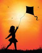 Girl flying kite in sunset background vector illustration — Wektor stockowy