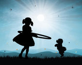 Little girl playing hula hoop in sunset background — Stock Vector