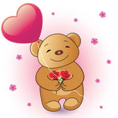 Romantic Teddy Bear vector illustration — Stock Vector