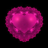 Pink Glowing Valentine Heart Fractal — Stock Photo