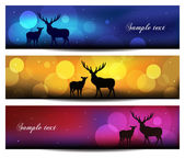 Christmas banner background with reindeer vector illustration — Stock Photo