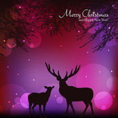 Christmas background with reindeer vector illustration — Stock Photo