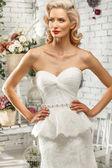 The beautiful  woman posing in a wedding dress — Stock Photo
