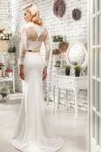 The beautiful  woman posing in a wedding dress — Foto de Stock