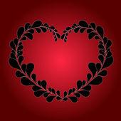 Валентина серце від листя на червоному тлі — Stok Vektör