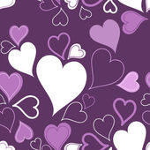 Purple seamless hearts pattern or background — Stock Vector