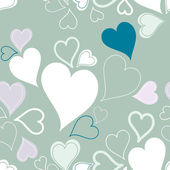 Green seamless hearts pattern or background — Vector de stock
