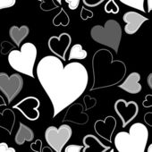 Black & white seamless hearts pattern or background — Stok Vektör