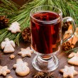 Stock Photo: Cup of mulled wine and cookies
