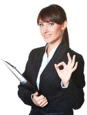 Business woman Ok gesture — Stock Photo