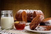 Homemade chocolate Cake, jam and milk — Stock Photo