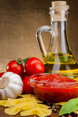 Tomato sauce in sauceboat — Stock Photo