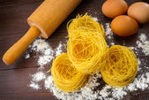 Homemade Italian pasta, eggs and flour — Stock Photo