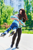 Happy mother twirling her son — Stock Photo
