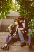 Young couple in love outdoor — 图库照片