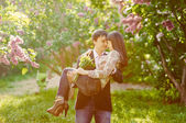 Young smiling happy couple in love — Stock Photo