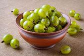 Green gooseberries in ceramic bowl — Stock Photo