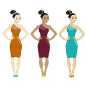 Three women in dresses on white background — Stock Vector