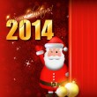 2014 Happy New Year card or background with Santa Claus, snowflakes, stars and balls. — Stock Vector