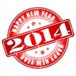 Happy new year 2014 red grunge rubber stamp — Stock Vector #35127369