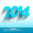 2014 Blue Paper Origami card on blue numbers background — Vektorgrafik