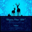 Happy New Year card with deer — Stock Vector