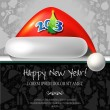Happy New Year vector card or background with ribbons, Santa's hat — Stock Vector