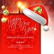 2014 Happy New Year card with Santa's hat — Stock Vector