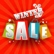Winter Sale poster with percent discount — Stock Vector